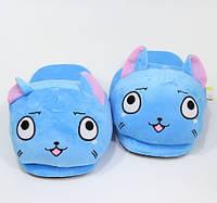 Плюшеві домашні тапочки Кіт Блакитні
