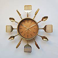 """Настенные часы (25 см) кухонные """"Ложки-вилки-ножи"""" столовые приборы золото [Пластик] Best Time"""
