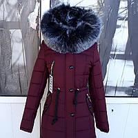 Зимняя женская молодежная курточка приталенная парка с искуственный. ..чернобуркой