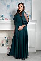 Роскошное струящееся макси платье размер 50,52,54,56,58,60,62 бутылочный, фото 1
