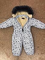 Детский комбинезон на меху №758 белый с синими звездами (р.80-98), фото 1