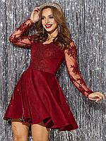 Вечернее платье бордовое короткое с гипюром 42 44 46
