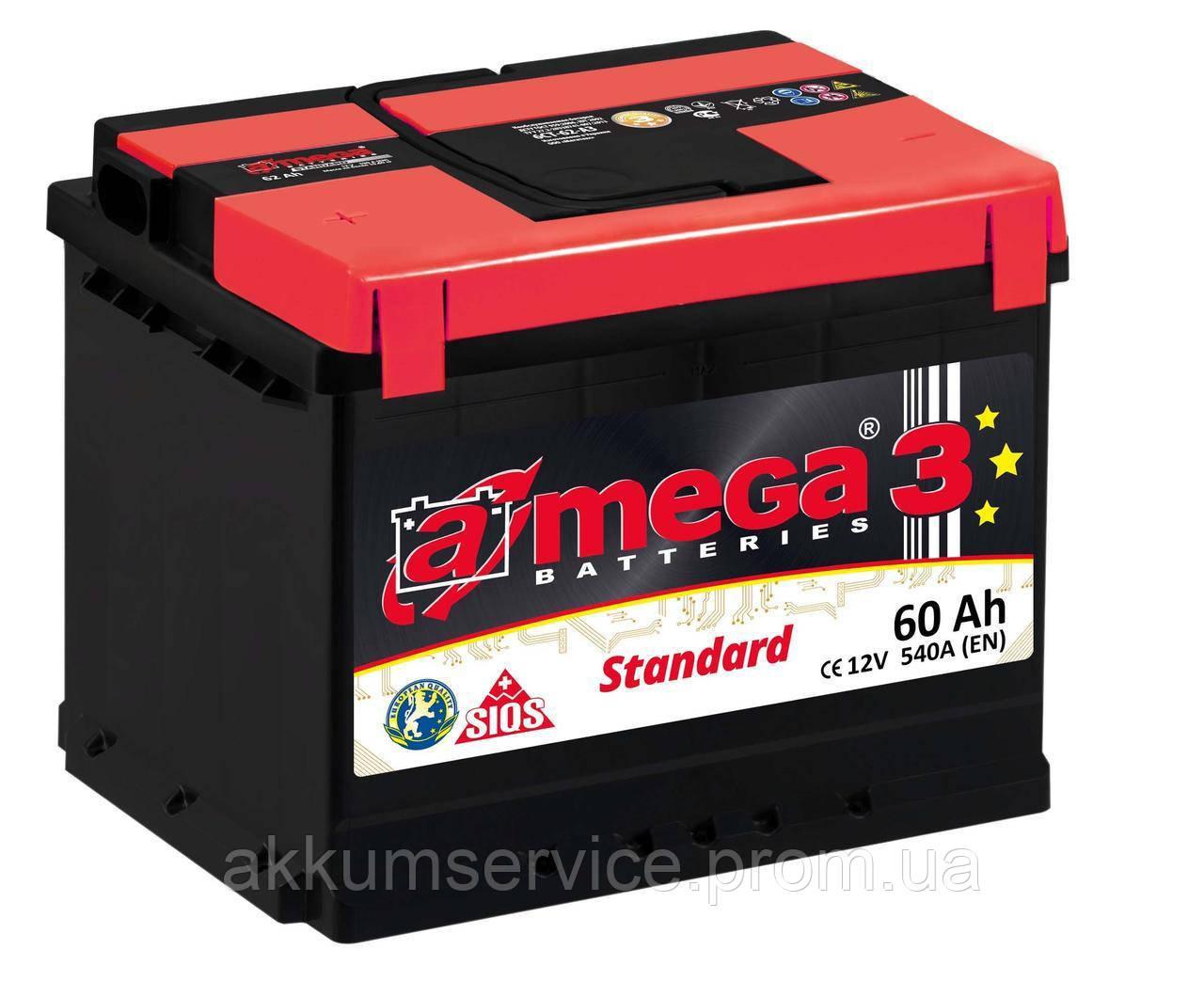 Акумулятор автомобільний A-Mega STANDART (M3) 60AH L+ 540A