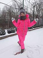 Детский зимний костюм на меху куртка+брюки №733 розовый (р.104-122), фото 1