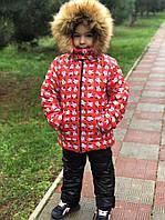 Детская зимняя куртка на меху №765 Микки (р.98-122) красная