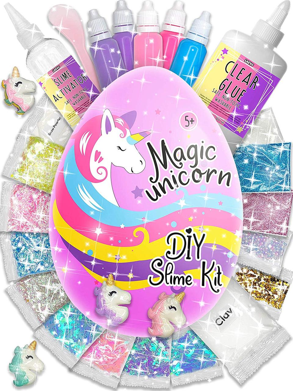 Набор Магическое яйцо Единорога со слаймами 5 секретов. Surprise Unicorn Slime Kit. Оригинал из США