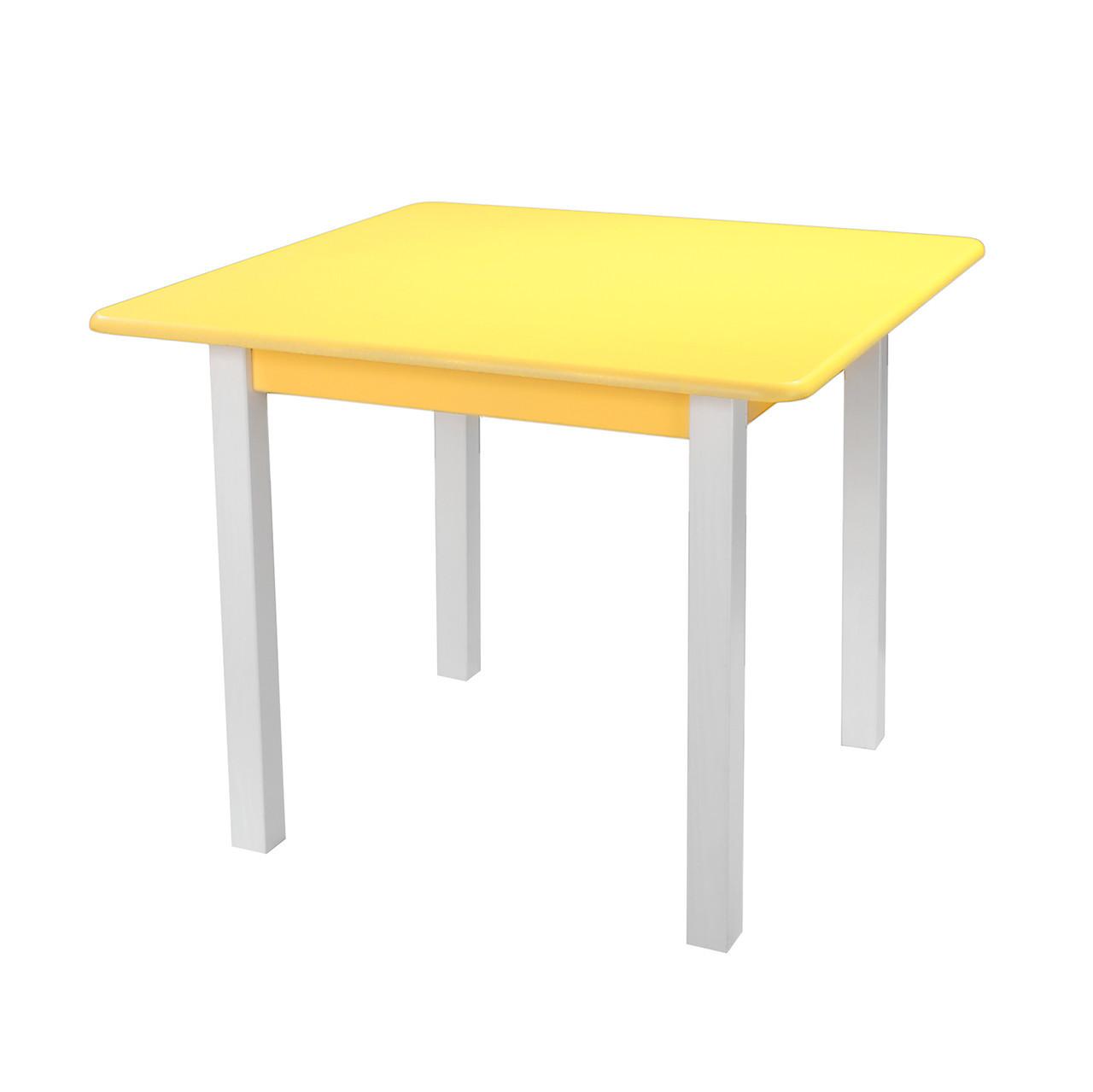 Столик детский из натурального дерева (сосна) Желтый