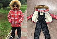 Детский зимний костюм на меху №765-760 Микки (р.98-122) красная, фото 1