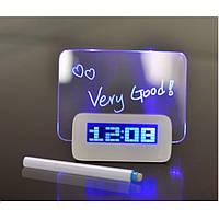 Настольные цифровые часы с доской для записей - Синие