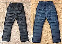 Детские зимние штаны на синтепоне с флисовой подкладкой №759 (черный, синий) (р.98-122)