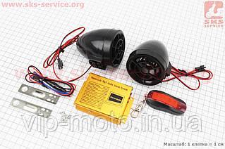 АУДИО-блок (МРЗ-USB/SD+FM-радио+пультДУ+сигнализация) + колонки 2шт (черные)
