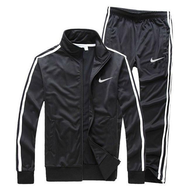 Черный летний тренировочный костюм Nike с лампасами (Найк)