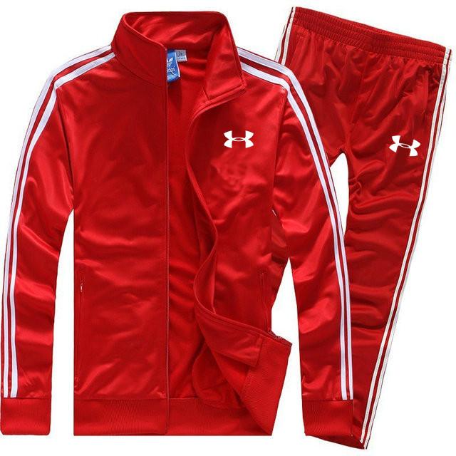 Летний спортивный костюм Under Armour красного цвета с лампасами (Андер Армор)