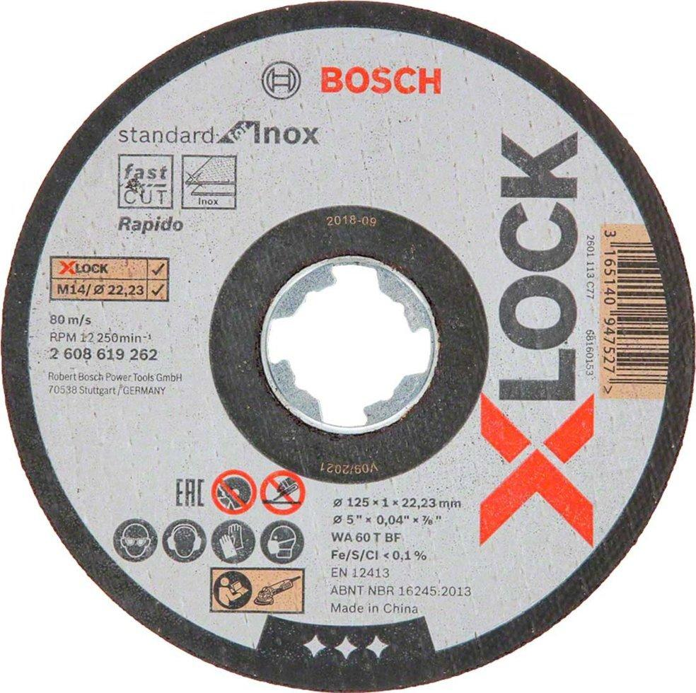 Круг отрезной Bosch X-Lock Standard for Inox, 125х1х22,23 мм, 10 шт (2608619267)