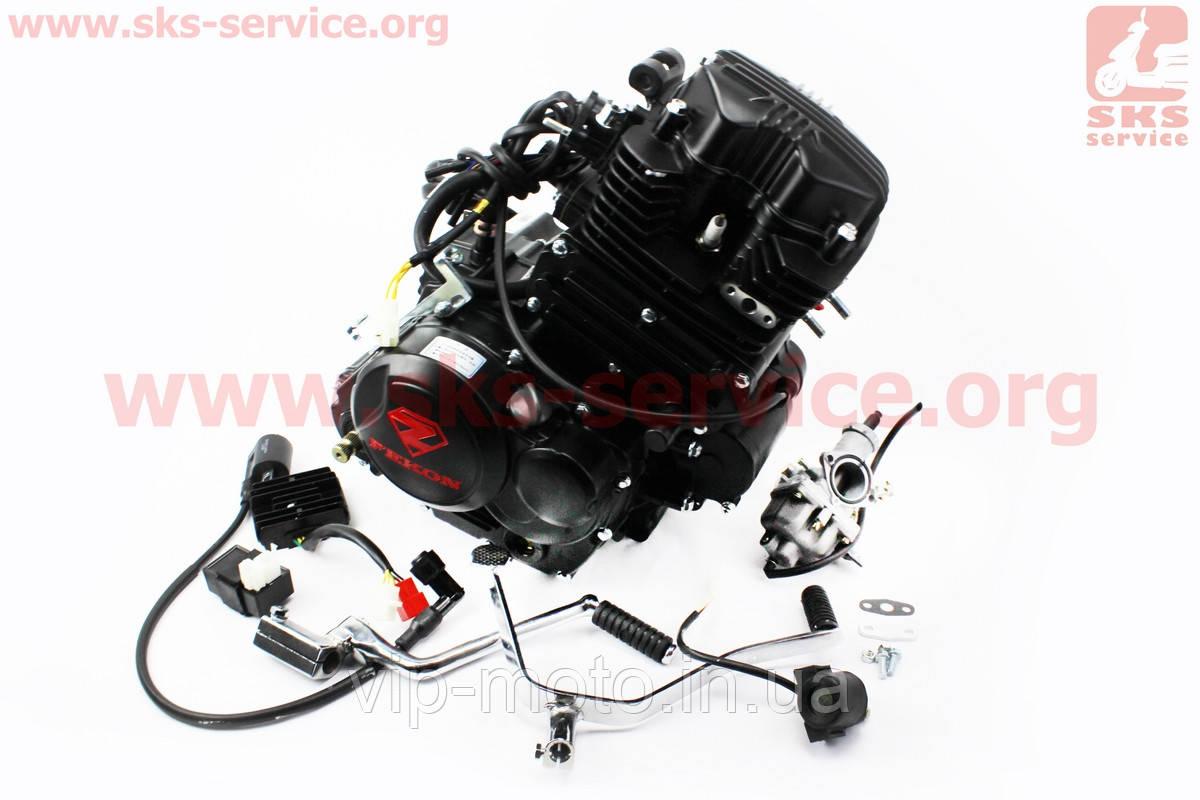 Двигатель мотоциклетный в сборе CGT-175cc (водяное охлаждение) + карбюратор, коммутатор, катушка зажигания, реле: стартера, напряжения