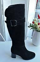 Жіночі замшеві чоботи на підборах лаковому, фото 1