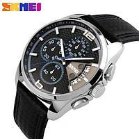 Классические мужские часы Skmei Spider 9106  Черные с синим кантом