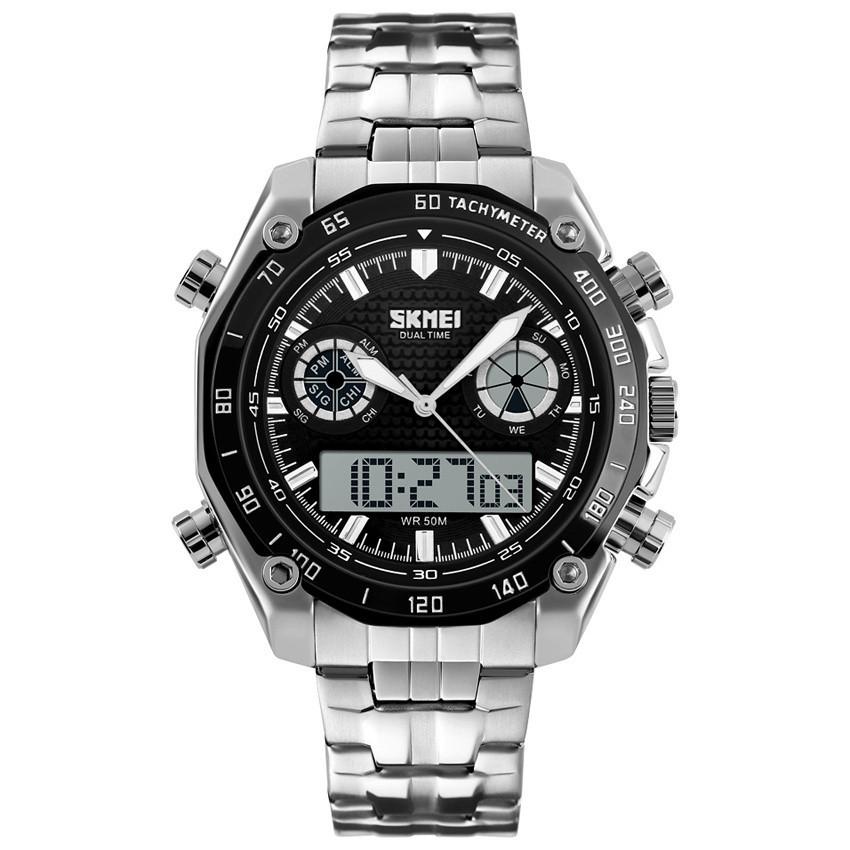 Skmei 1204 DIRECT серебристые с черным кантом мужские часы