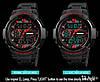 Skmei 1320 PROTECT черные с красным мужские спортивные часы, фото 4