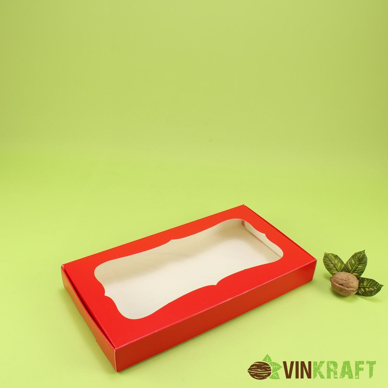 Коробка 280*150*35 для пряника з вікном, червона