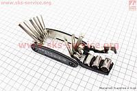 Ключ-набор 15предметов (шестигранники 2,2.5,3,4,5,6мм, спицной ключ, отвёртки прямая и фигурная, головки 8,9,10мм, гаечные ключи 8,10,15мм), KL-9802