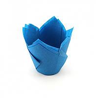 Бумажные формы (Тарталетки) для кексов, капкейков Синие тюльпан