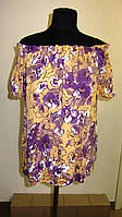 Блуза женская  с цветочным рисунком, 46,48, 50,52, тонкая легкая ,купить , Бл 019-9. 52 Синий