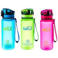 Бутылка для воды SMILE, 500мл, цвета в ассортименте
