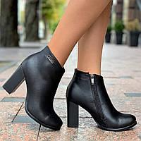 Женские ботильоны ботинки кожаные демисезонные черные ( код 6776 )