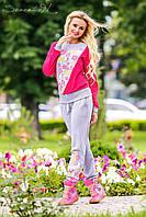 Красивый женский спортивный костюм с цветочным принтом, фото 1