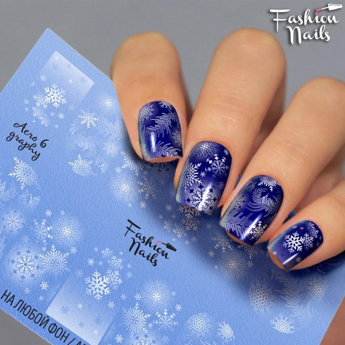 Зимний слайдер дизайн Cнежинки - Новогодние наклейки для ногтей арт.Aero6