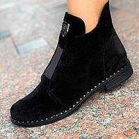Женские ботильоны ботинки замшевые кожаные демисезонные черные ( код 6779 )