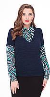 Блузка Дали-5061 белорусский трикотаж, темно-синий с зеленью, 50