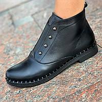 Жіночі черевики демісезонні черевики шкіряні чорні ( код 6771 ) - жіночі черевики шкіряні демисезонні