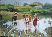 Купить картину для декора сельский пейзаж Деревня