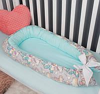 Кокон гнездышко для девочки, бейбинест, кроватка для новорожденных, люлька, бортики, кроватка 0-9месяцев