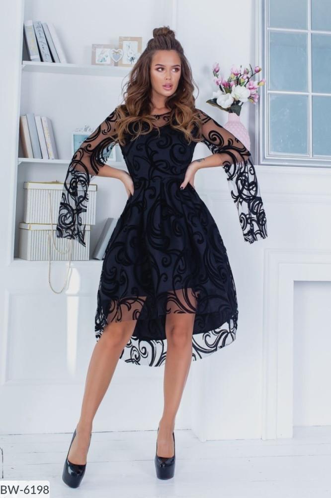 Платье нарядное удлиненное сзади в расцветках 163968