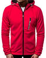 Спортивные флисовые кофты мужские Красный, серый
