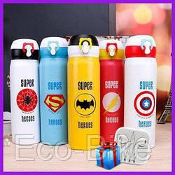 Термос Супергерои 500 мл. с поилкой термокружка Super heroes термос детский + наушники в подарок!
