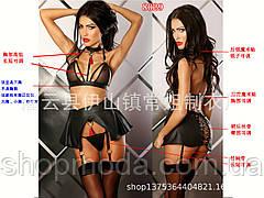 Эротическое Женское белье Сексуальный Латексный комплект, фото 3
