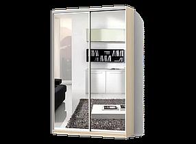 Шкаф-Купе Двухдверный Стандарт-4 ДСП Дуб Молочный, 2 двери Зеркало (Luxe-Studio TM)