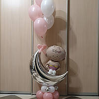 Композиция из шаров на выписку, можно вариант для мальчика
