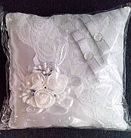 Свадебная подушка под кольца № 2 (белая)