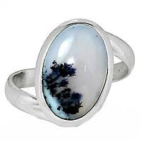 Серебряное кольцо с мерлинитом дендритным опалом, 2111КЦО