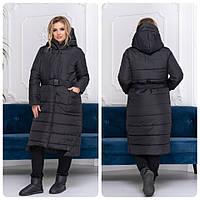 Пуховик длинный зима одеяло на молнии и кнопках матовая с поясом арт. M032 черный / черного цвета