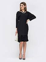 Элегантное черное платье с рукавом летучая мышь 44 46 48 50 52 54