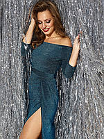 Женственное синее платье с открытой линией плеч красиво оголяющая ключицы 42 44 46 48
