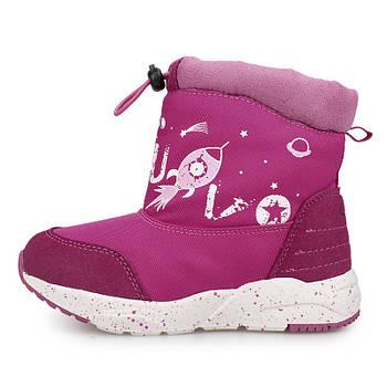 Детские зимние сапоги для девочки на искусственном меху Uovo Розовые с фиолетовым (52060)