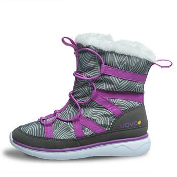 Детские зимние сапоги на искусственном меху для девочки Uovo Серые с фиолетовым (52061)