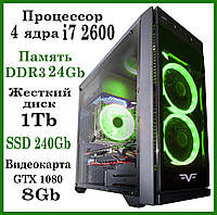 Игровой компьютер Core i7 2600 4 ядра 8 потоков / DDR3-24GB / HDD-1TB / SSD-240GB /GTX 10808GB